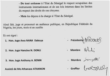 Plainte des libéraux : L'arrêt de la Cour de Justice de la Cedeao