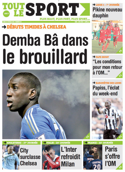 A la Une du Journal Tout Le Sport du lundi 25 janvier 2013