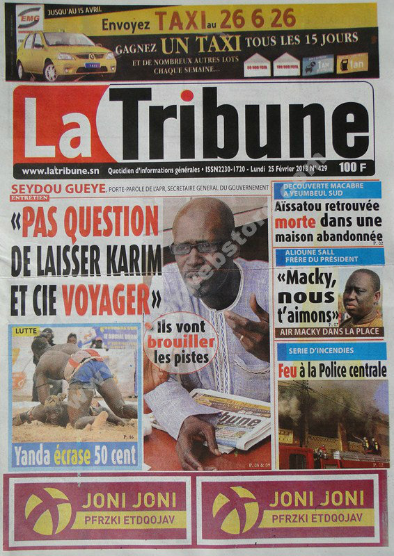 A la Une du Journal La Tribune du lundi 25 janvier 2013
