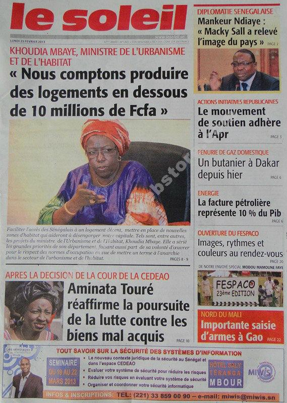 A la Une du Journal Le Soleil du lundi 25 janvier 2013