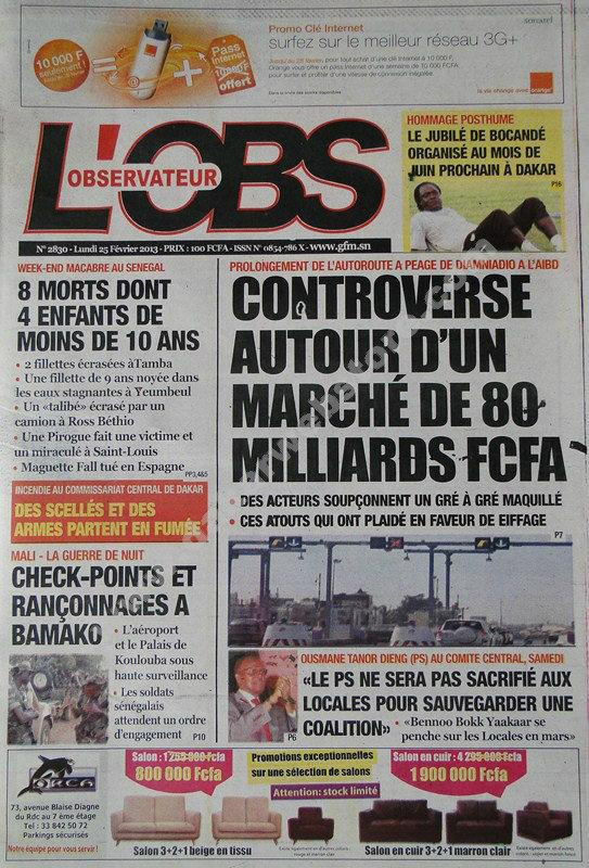 A la Une du Journal L'Oservateur du lundi 25 janvier 2013