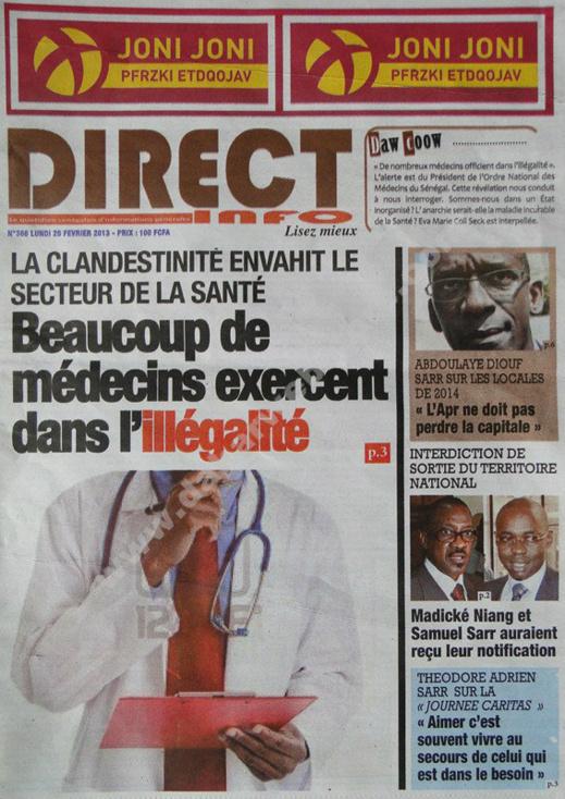 A la Une du Journal Direct Info du lundi 25 janvier 2013