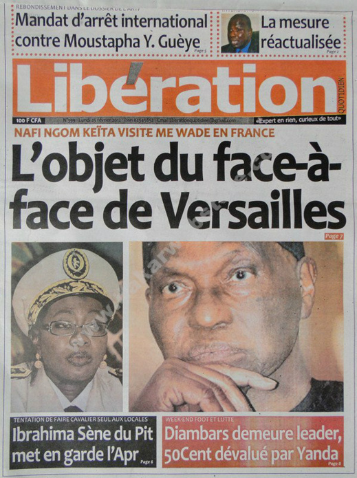 A la Une du Journal Libération du lundi 25 janvier 2013