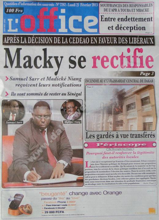 A la Une du Journal L'Office du lundi 25 janvier 2013