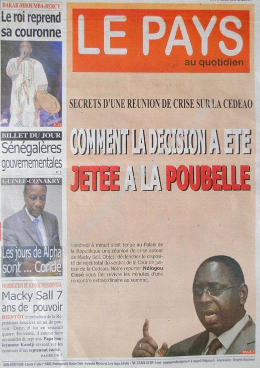 A la Une du Journal Le Pays du lundi 25 janvier 2013
