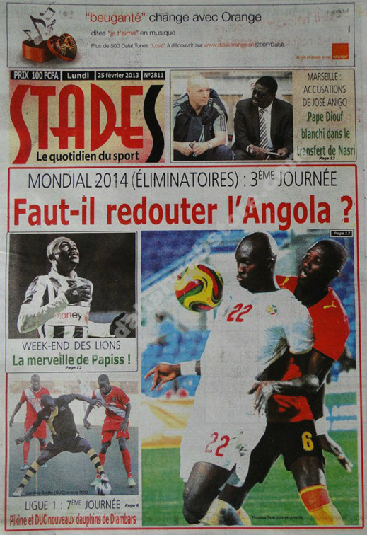A la Une du Journal Stades du lundi 25 janvier 2013