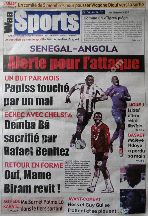 A la Une du Journal Waa Sports du lundi 25 janvier 2013