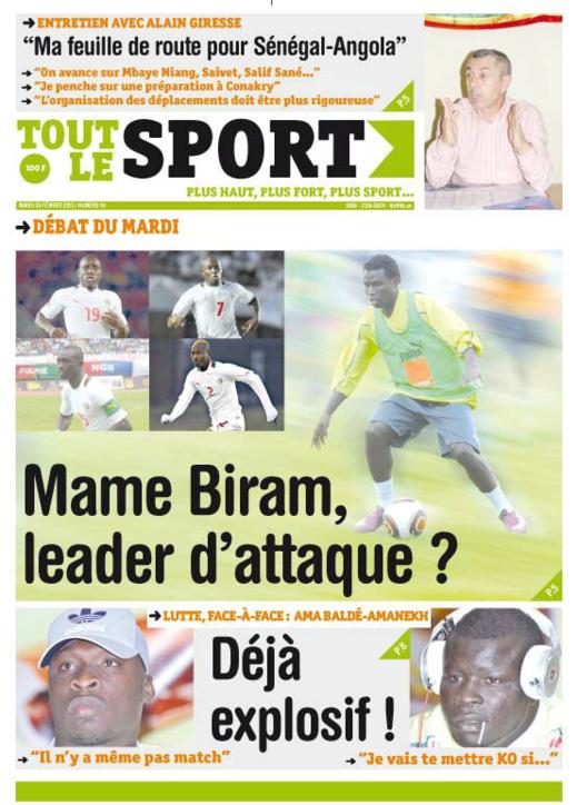 A la Une du Journal Toute Le Sport du mardi 26 février 2013