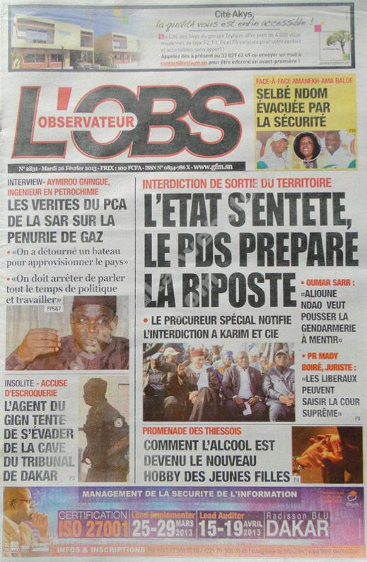 A la Une du Journal L'Observateur du mardi 26 février 2013