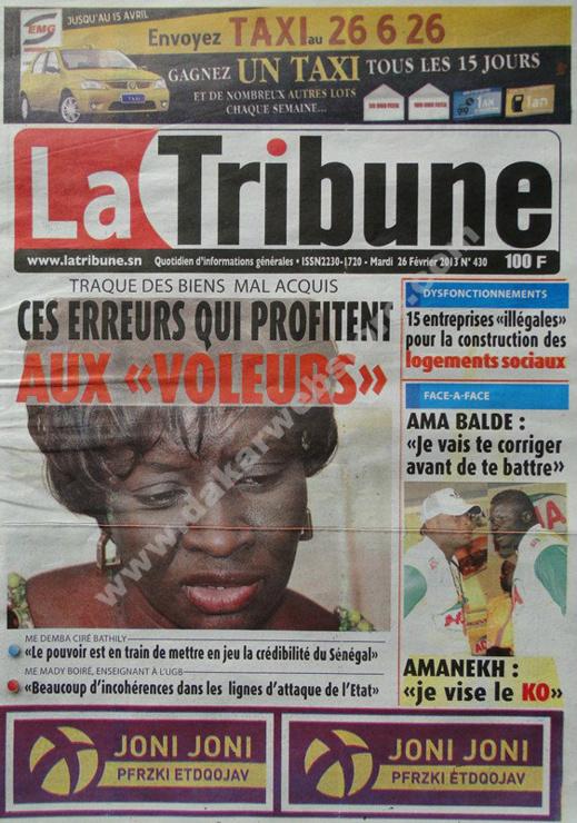 A la Une du Journal La Tribune du mardi 26 février 2013