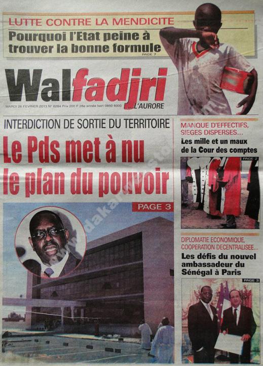 A la Une du Journal Walfadjri du mardi 26 février 2013