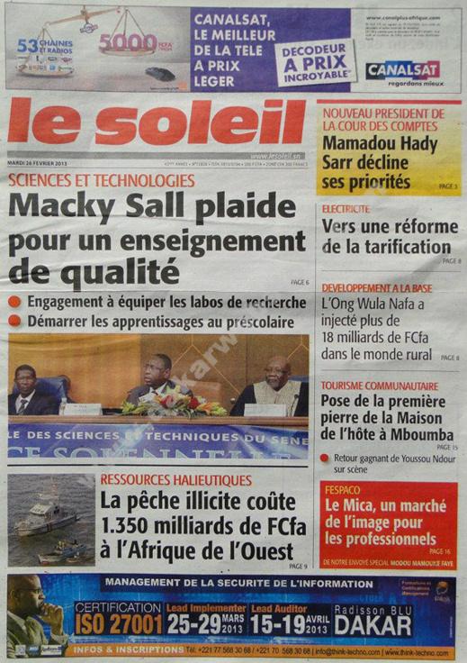 A la Une du Journal Le Soleil du mardi 26 février 2013