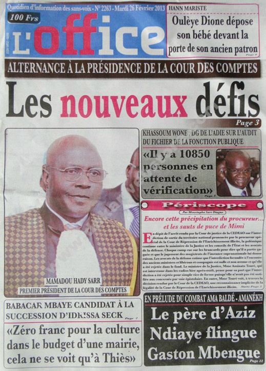 A la Une du Journal L'Office du mardi 26 février 2013