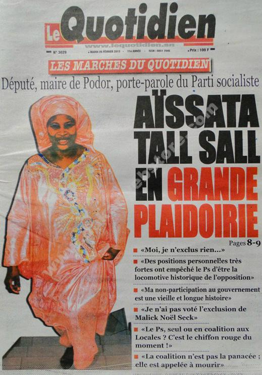 A la Une du Journal Le Quotidien du mardi 26 février 2013