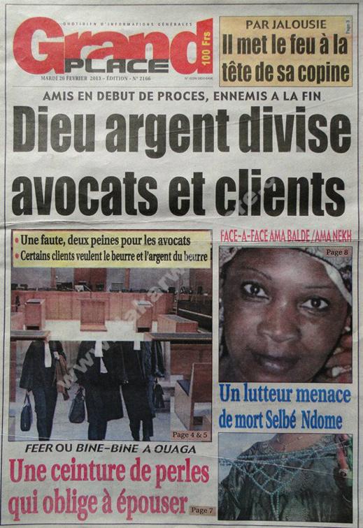 A la Une du Journal Grand Place du mardi 26 février 2013