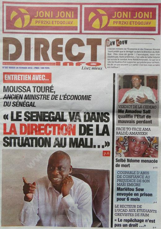 A la Une du Journal Direct info du mardi 26 février 2013