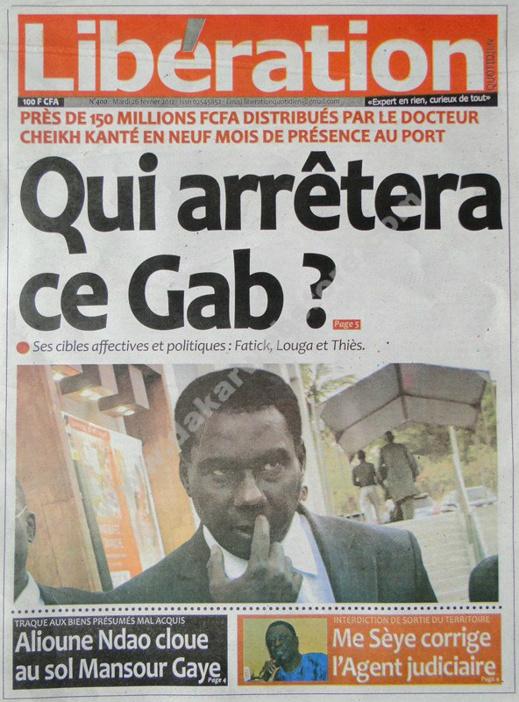 A la Une du Journal Libération du mardi 26 février 2013