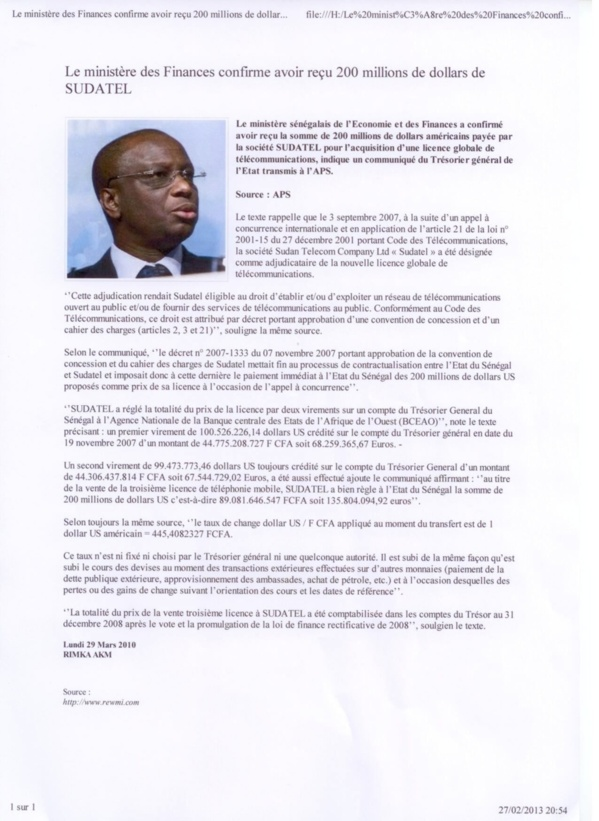 [Documents] Affaire Thierno Ousmane: Sa défense assise sur du béton
