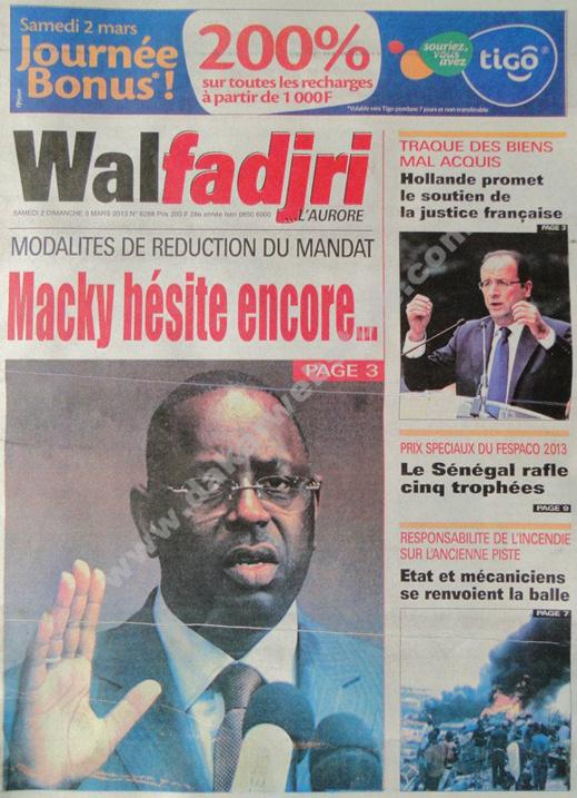 A la Une du Journal Walfadjri du Samedi 02 mars 2013