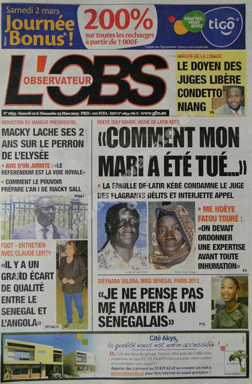 A la Une du Journal L'Observateur du Samedi 02 mars 2013