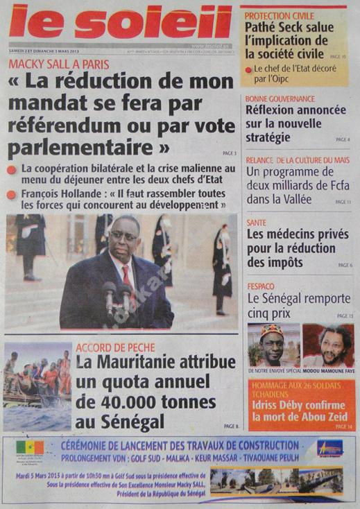 A la Une du Journal Le Soleil du Samedi 02 mars 2013