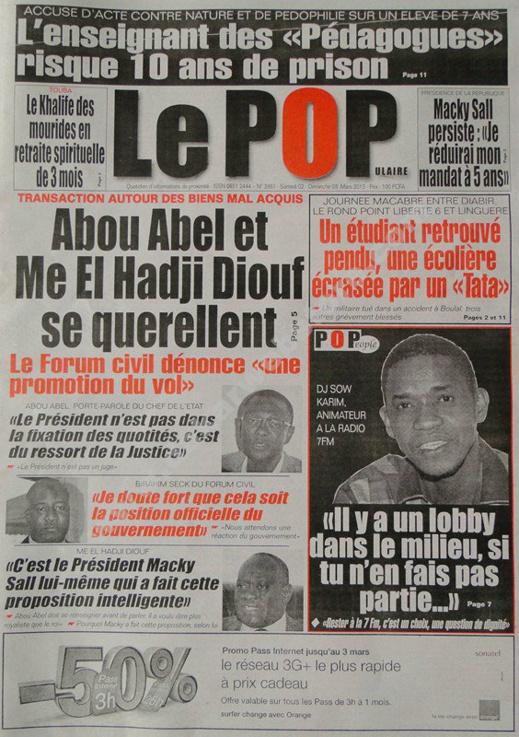 A la Une du Journal Le Populaire du Samedi 02 mars 2013