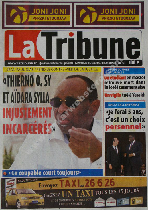 A la Une du Journal La Tribune du Samedi 02 mars 2013