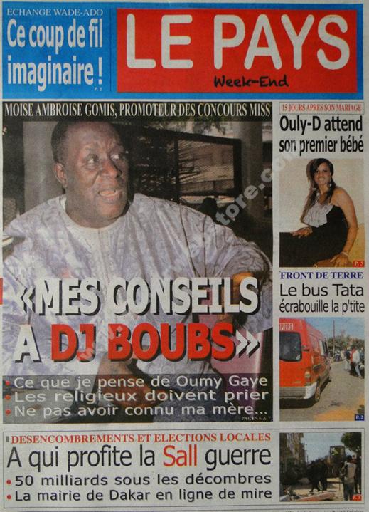 A la Une du Journal Le Pays du Samedi 02 mars 2013
