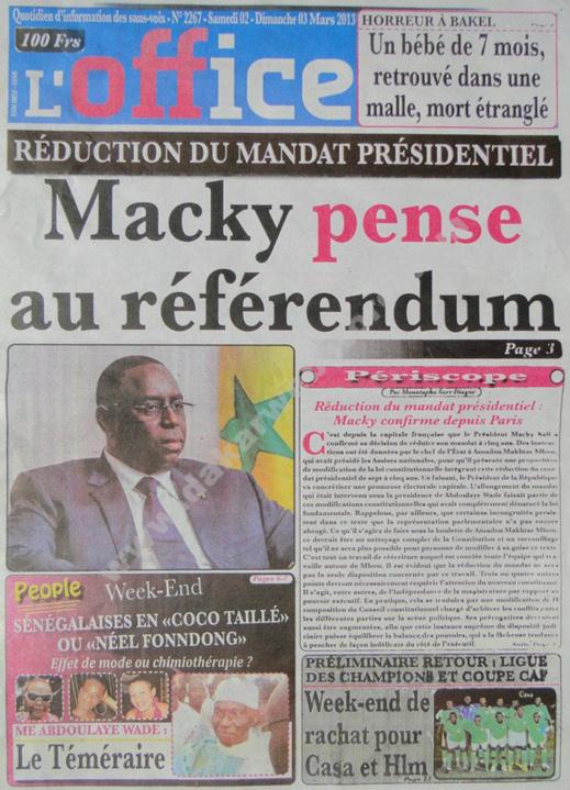 A la Une du Journal L'Office du Samedi 02 mars 2013
