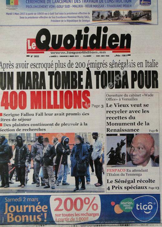 A la Une du Journal Le Quotidien du Samedi 02 mars 2013