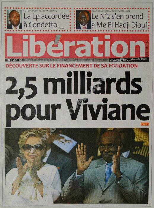 A la Une du Journal Libération du Samedi 02 mars 2013
