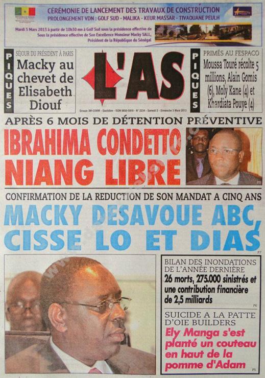 A la Une du Journal L'As du Samedi 02 mars 2013