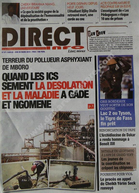 A la Une du Journal Direct Infos du Samedi 02 mars 2013