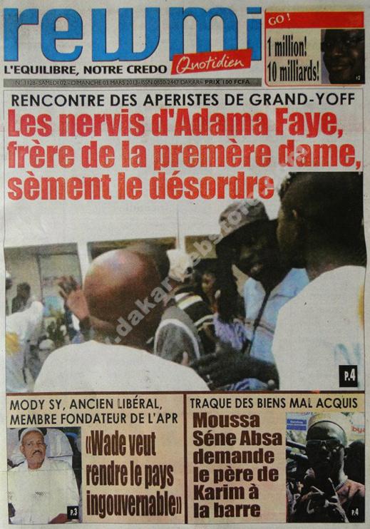 A la Une du Journal Rewmi du Samedi 02 mars 2013