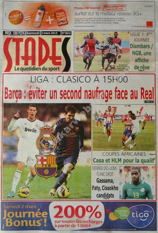 A la Une du Journal Stades du Samedi 02 mars 2013