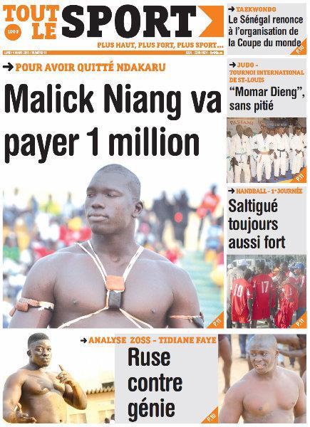 A la une du journal Tout le Sport du lundi 04 mars 2013