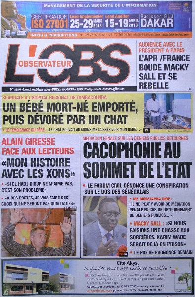 A la une du journal L'Observateur du lundi 04 mars 2013