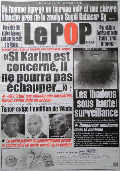 A la une du journal Le Populaire du lundi 04 mars 2013