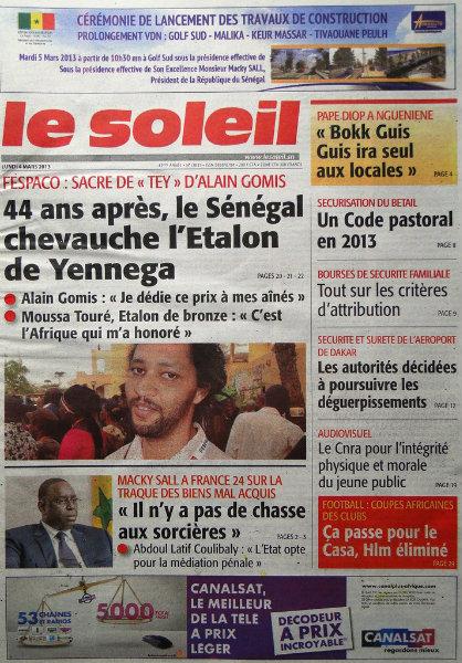 A la une du journal Le Soleil du lundi 04 mars 2013