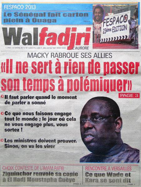 A la une du journal Walfadjri du lundi 04 mars 2013