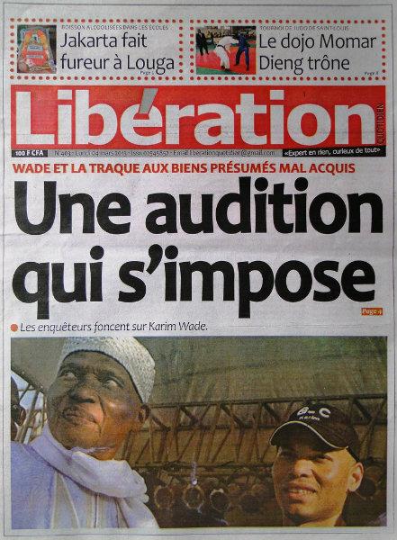 A la une du journal Libération du lundi 04 mars 2013