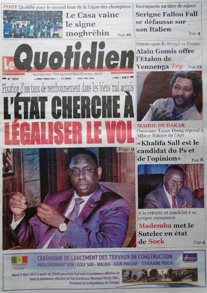 A la une du journal Le Quotidien du lundi 04 mars 2013