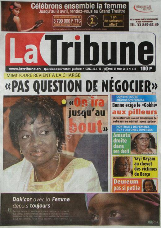 A la Une du Journal Tout La Tribune du vendredi 08 Mars 2013