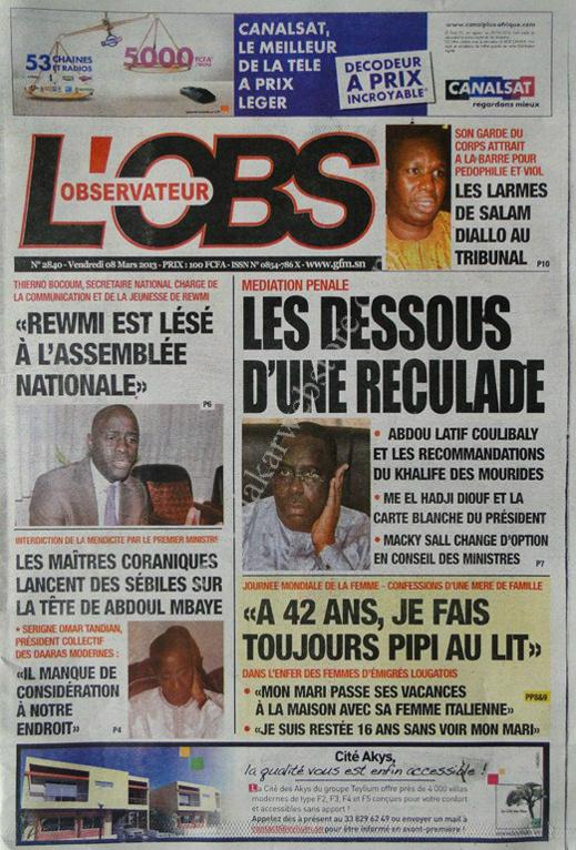 A la Une du Journal L'Observateur du vendredi 08 Mars 2013