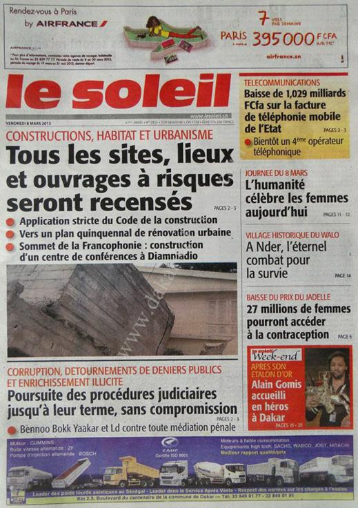 A la Une du Journal Le Soleil du vendredi 08 Mars 2013