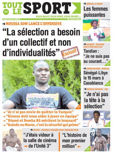 A la Une du Journal Tout Le Sport du vendredi 08 Mars 2013
