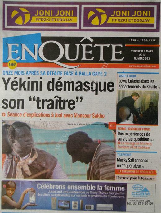 A la Une du Journal EnQuête du vendredi 08 Mars 2013