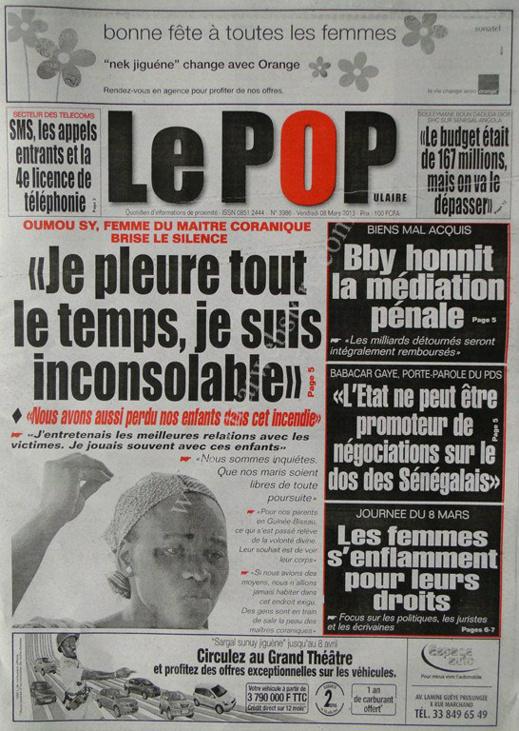 A la Une du Journal Le Populaire du vendredi 08 Mars 2013