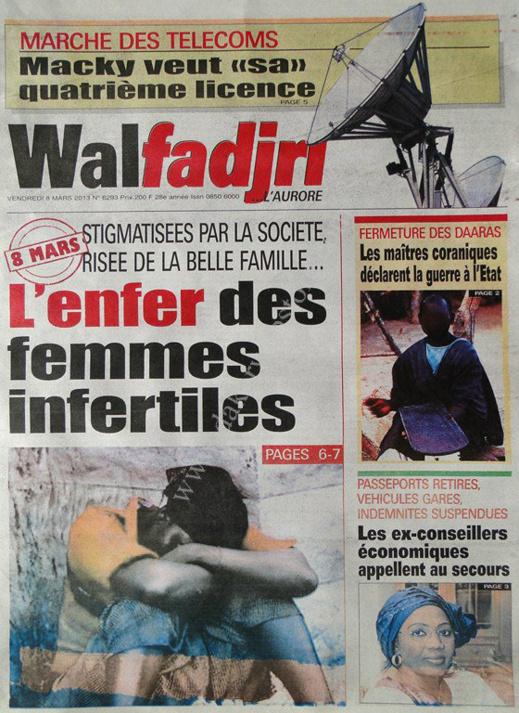 A la Une du Journal Walfadjri du vendredi 08 Mars 2013