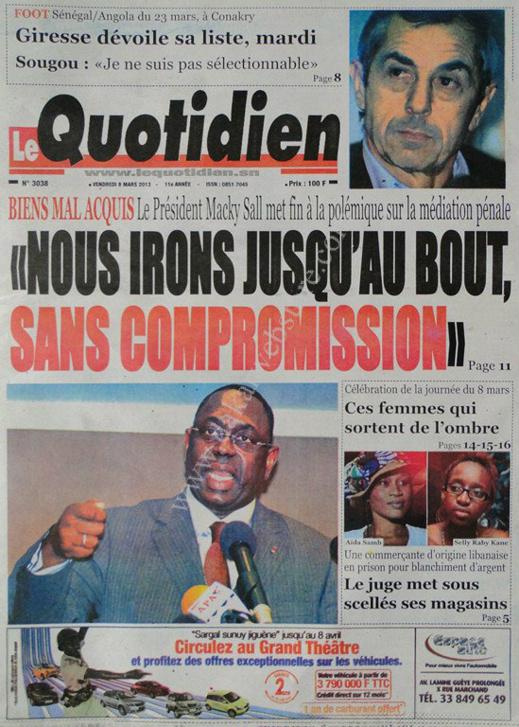 A la Une du Journal Le Quotidien du vendredi 08 Mars 2013